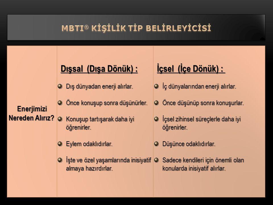 MBTI® KİŞİLİK TİP BELİRLEYİCİSİ