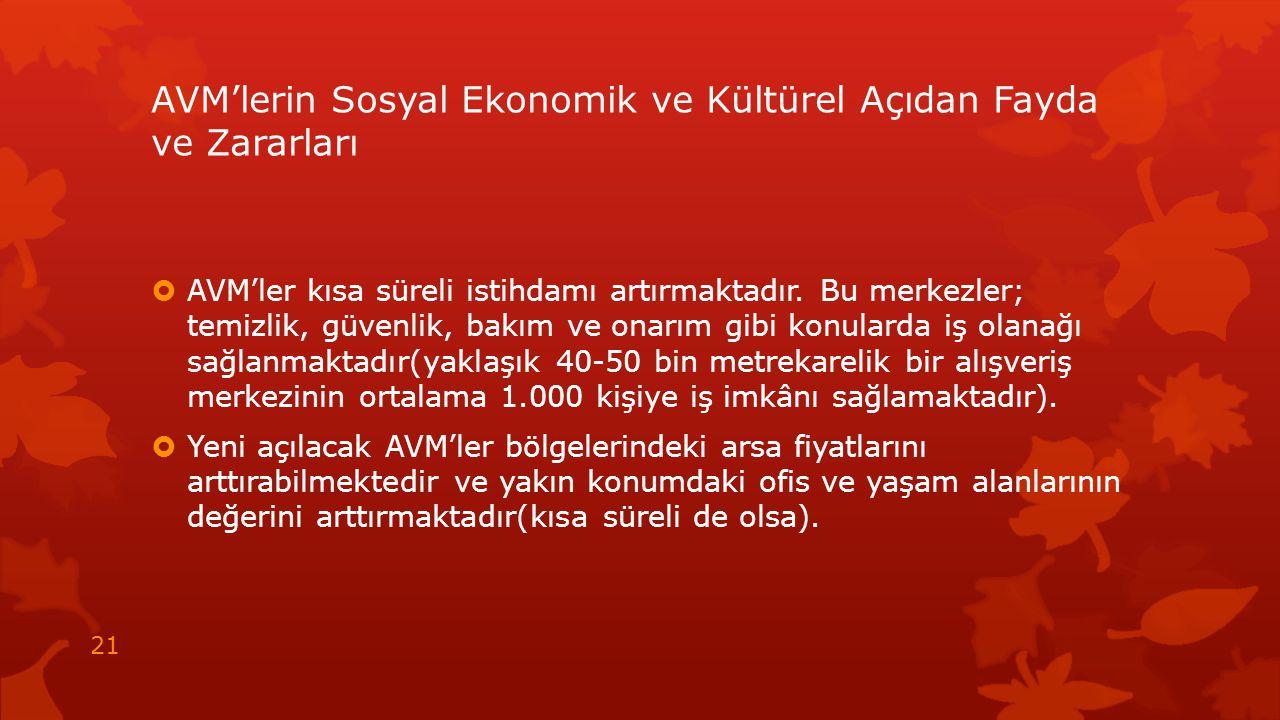 AVM'lerin Sosyal Ekonomik ve Kültürel Açıdan Fayda ve Zararları