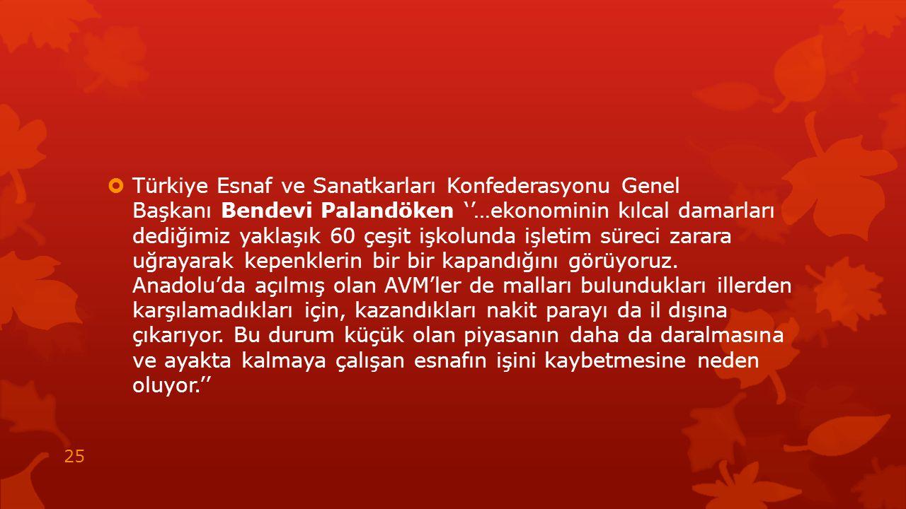 Türkiye Esnaf ve Sanatkarları Konfederasyonu Genel Başkanı Bendevi Palandöken ''…ekonominin kılcal damarları dediğimiz yaklaşık 60 çeşit işkolunda işletim süreci zarara uğrayarak kepenklerin bir bir kapandığını görüyoruz.
