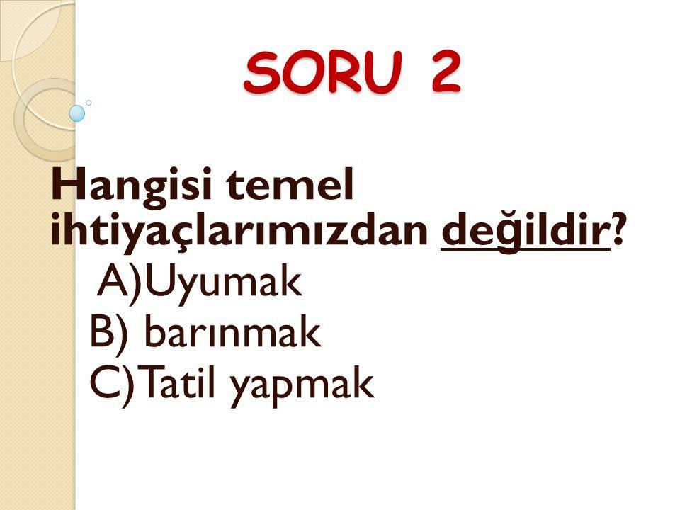 SORU 2 Hangisi temel ihtiyaçlarımızdan değildir A)Uyumak B) barınmak