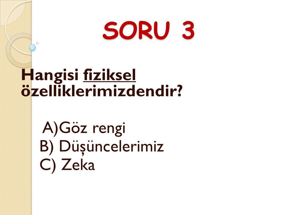 SORU 3 Hangisi fiziksel özelliklerimizdendir A)Göz rengi