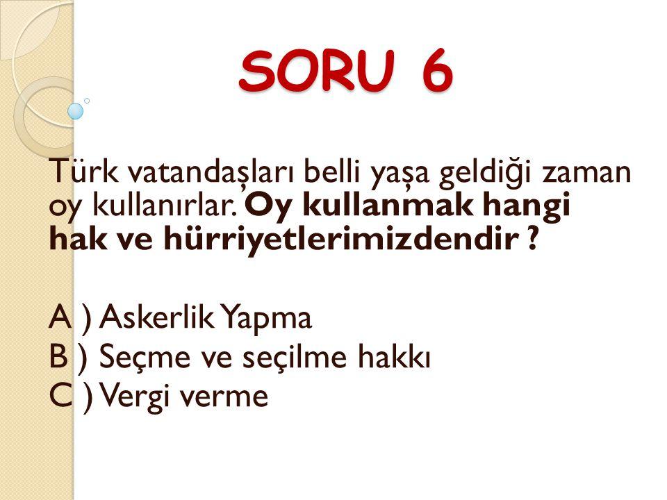 SORU 6 Türk vatandaşları belli yaşa geldiği zaman oy kullanırlar. Oy kullanmak hangi hak ve hürriyetlerimizdendir