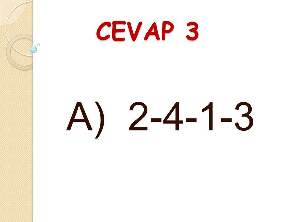 CEVAP 3 A) 2-4-1-3