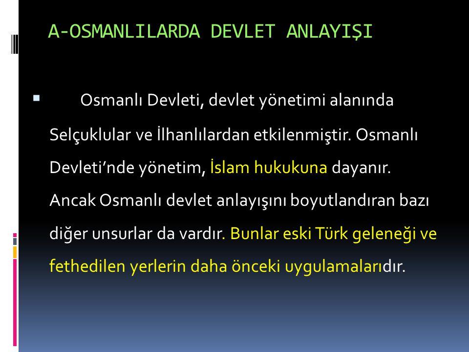 A-OSMANLILARDA DEVLET ANLAYIŞI
