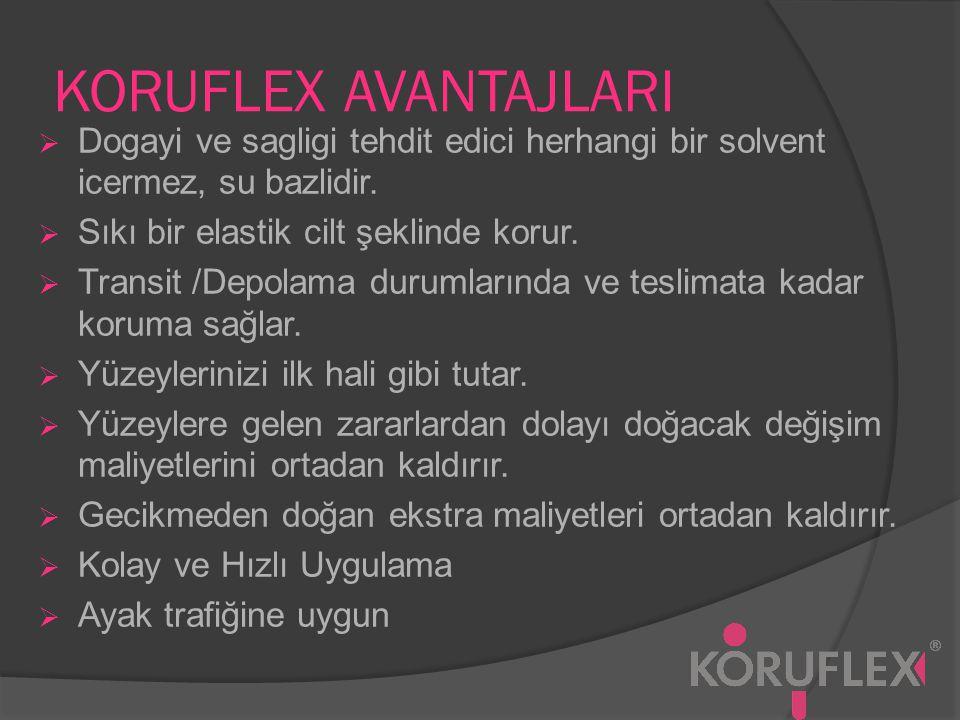 KORUFLEX AVANTAJLARI Dogayi ve sagligi tehdit edici herhangi bir solvent icermez, su bazlidir. Sıkı bir elastik cilt şeklinde korur.