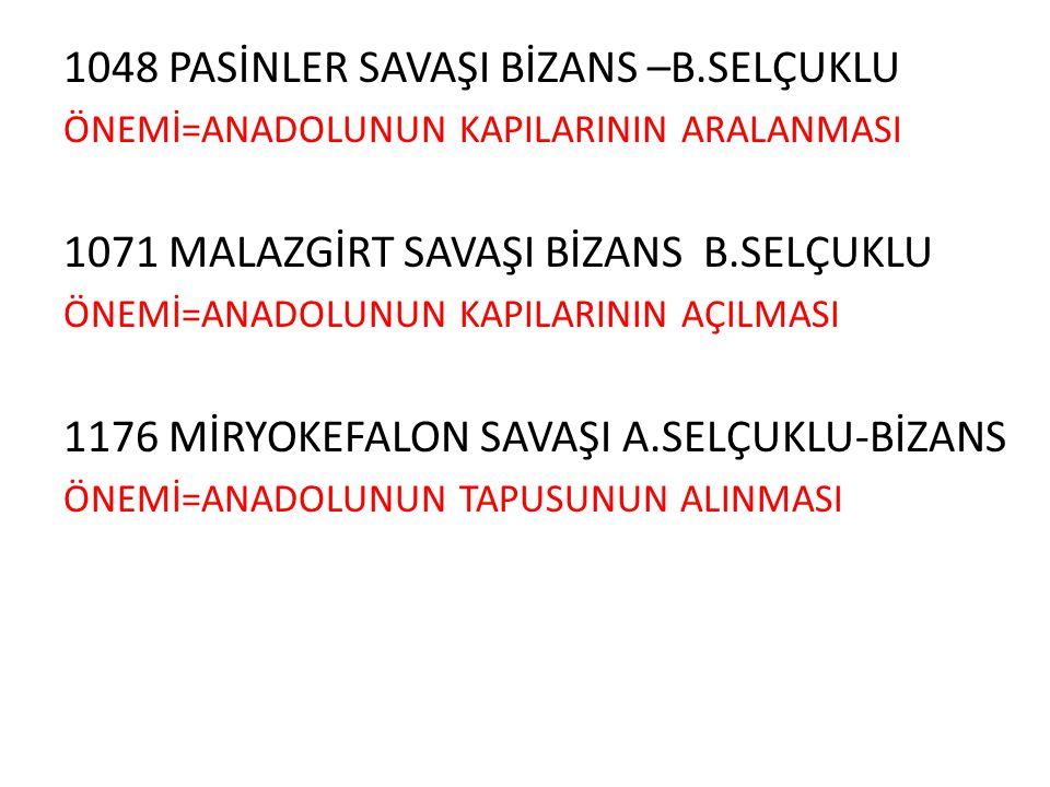 1048 PASİNLER SAVAŞI BİZANS –B.SELÇUKLU