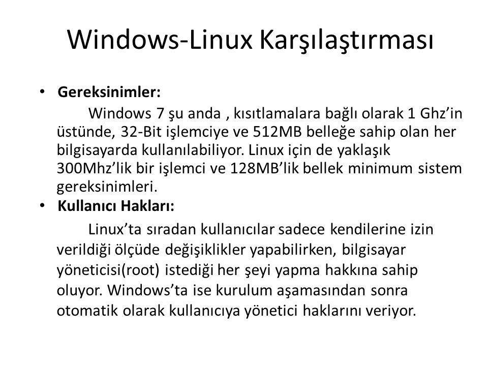 Windows-Linux Karşılaştırması