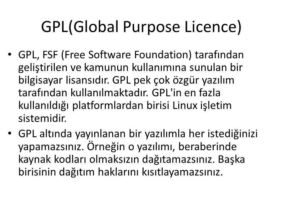 GPL(Global Purpose Licence)