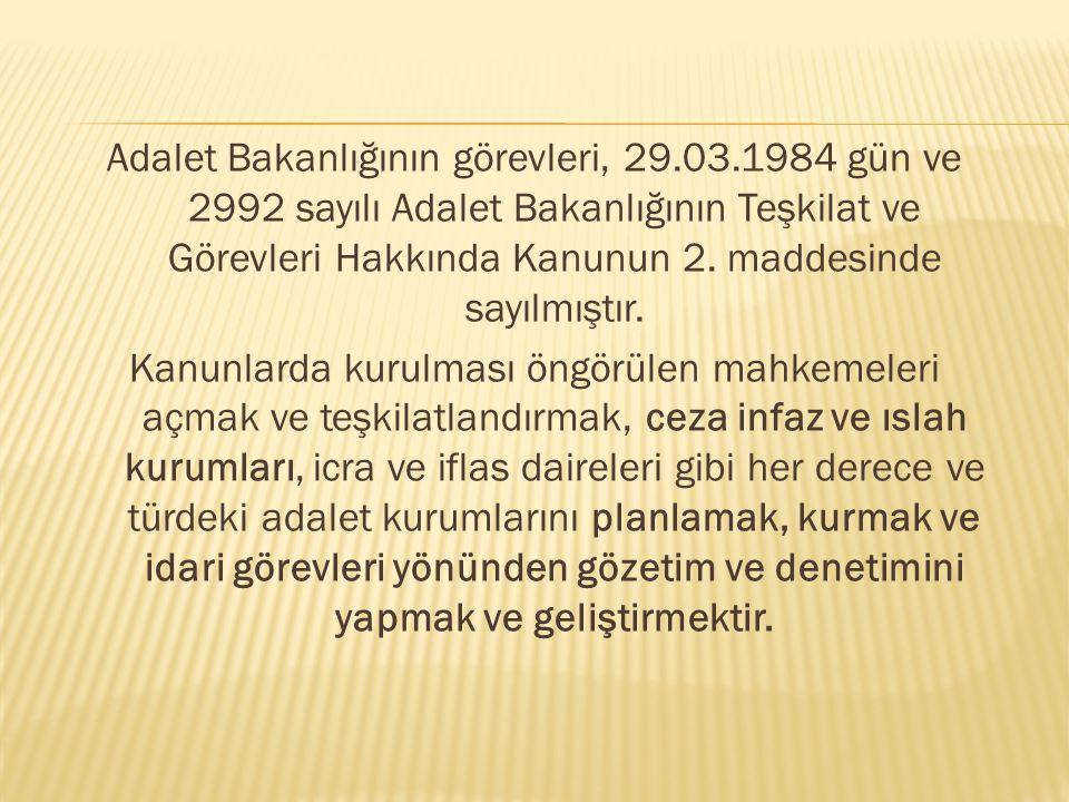 Adalet Bakanlığının görevleri, 29. 03
