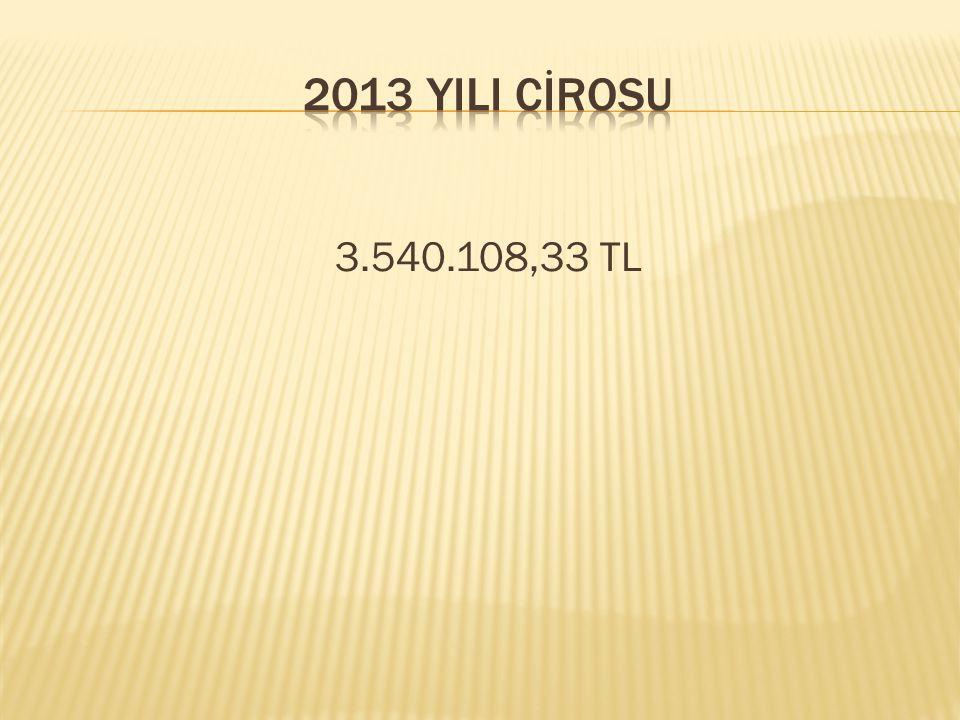 2013 YILI CİROSU 3.540.108,33 TL
