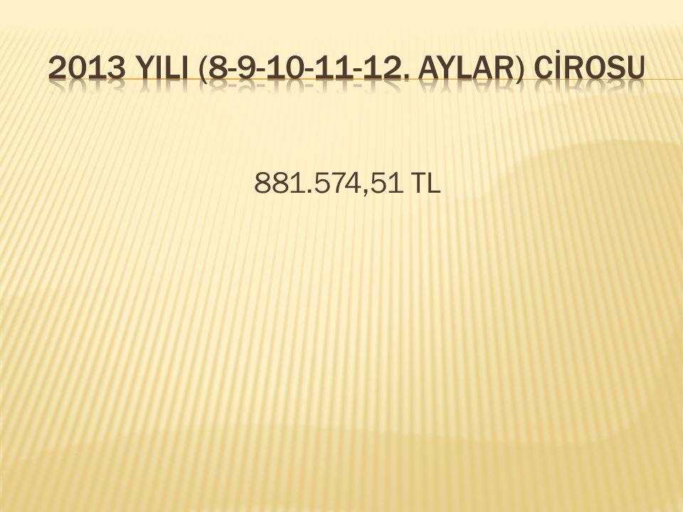 2013 YILI (8-9-10-11-12. AYLAR) CİROSU