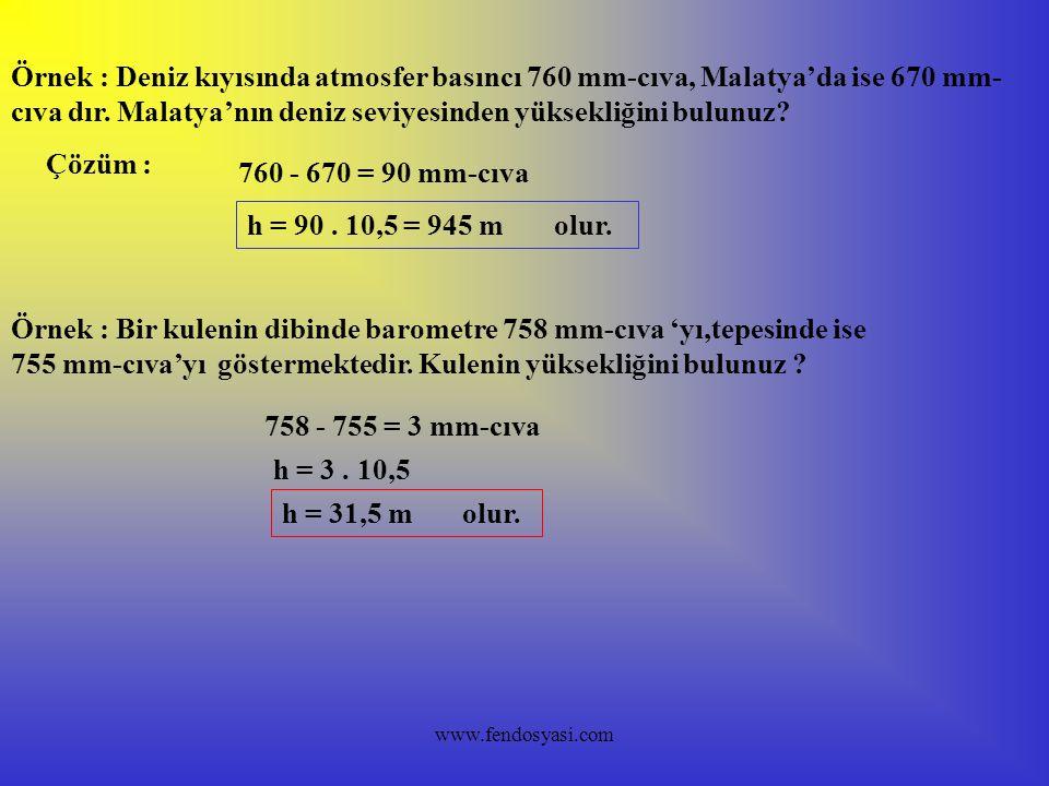 Örnek : Deniz kıyısında atmosfer basıncı 760 mm-cıva, Malatya'da ise 670 mm-cıva dır. Malatya'nın deniz seviyesinden yüksekliğini bulunuz