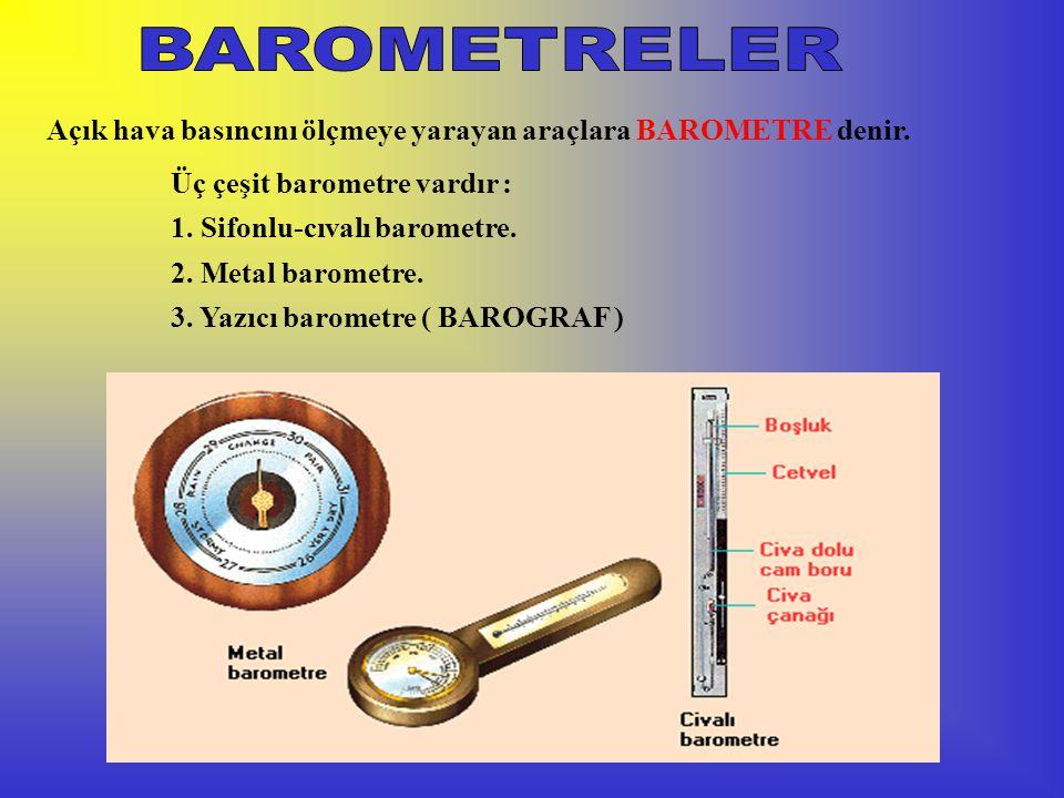 BAROMETRELER Açık hava basıncını ölçmeye yarayan araçlara BAROMETRE denir. Üç çeşit barometre vardır :