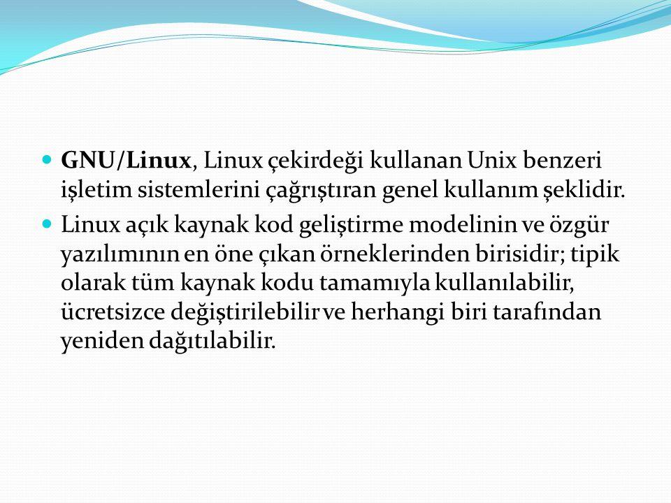 GNU/Linux, Linux çekirdeği kullanan Unix benzeri işletim sistemlerini çağrıştıran genel kullanım şeklidir.