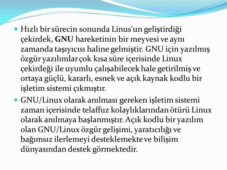Hızlı bir sürecin sonunda Linus un geliştirdiği çekirdek, GNU hareketinin bir meyvesi ve aynı zamanda taşıyıcısı haline gelmiştir. GNU için yazılmış özgür yazılımlar çok kısa süre içerisinde Linux çekirdeği ile uyumlu çalışabilecek hale getirilmiş ve ortaya güçlü, kararlı, esnek ve açık kaynak kodlu bir işletim sistemi çıkmıştır.