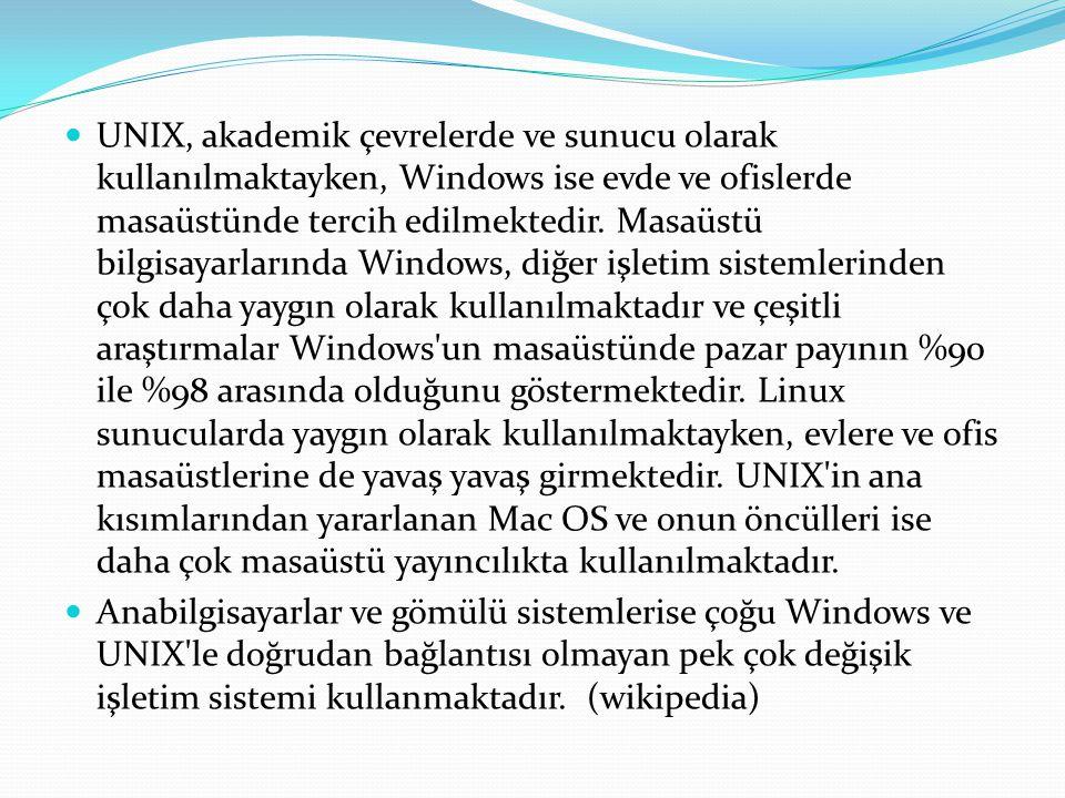 UNIX, akademik çevrelerde ve sunucu olarak kullanılmaktayken, Windows ise evde ve ofislerde masaüstünde tercih edilmektedir. Masaüstü bilgisayarlarında Windows, diğer işletim sistemlerinden çok daha yaygın olarak kullanılmaktadır ve çeşitli araştırmalar Windows un masaüstünde pazar payının %90 ile %98 arasında olduğunu göstermektedir. Linux sunucularda yaygın olarak kullanılmaktayken, evlere ve ofis masaüstlerine de yavaş yavaş girmektedir. UNIX in ana kısımlarından yararlanan Mac OS ve onun öncülleri ise daha çok masaüstü yayıncılıkta kullanılmaktadır.