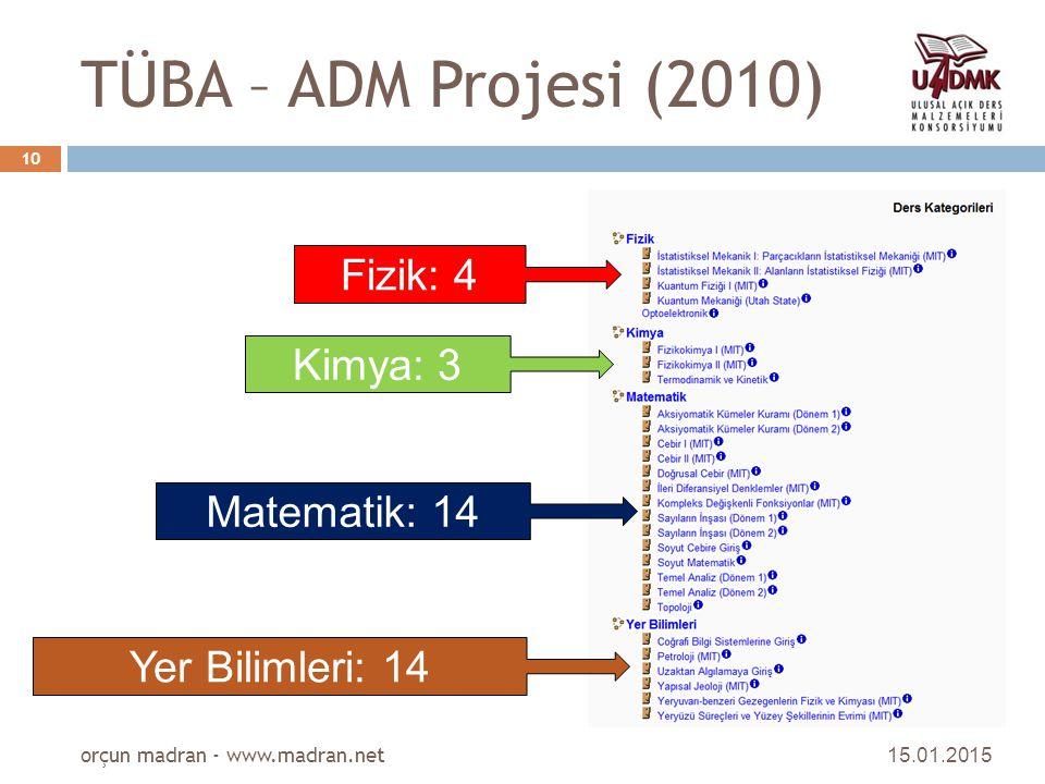 TÜBA – ADM Projesi (2010) Fizik: 4 Kimya: 3 Matematik: 14