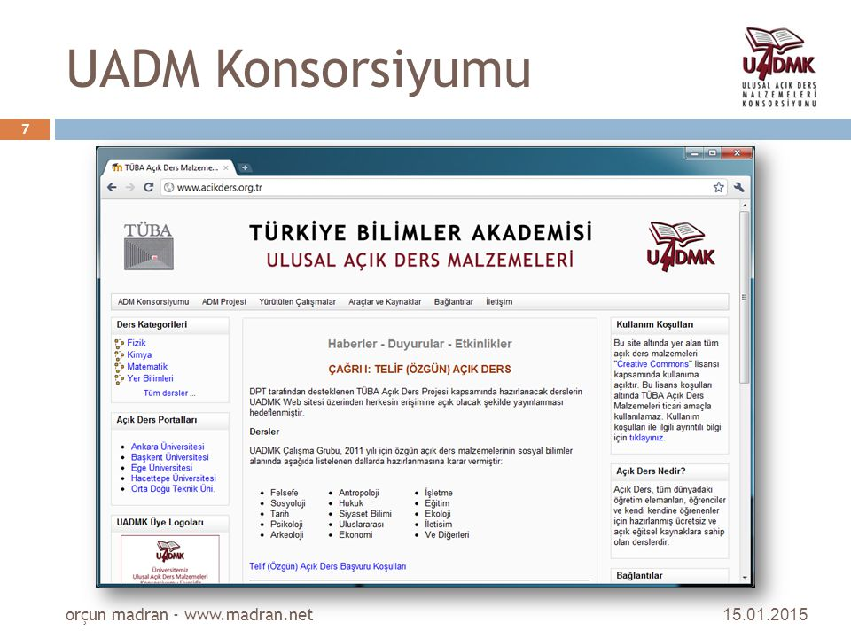 UADM Konsorsiyumu orçun madran - www.madran.net 08.04.2017