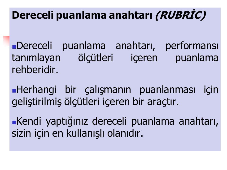 Dereceli puanlama anahtarı (RUBRİC)