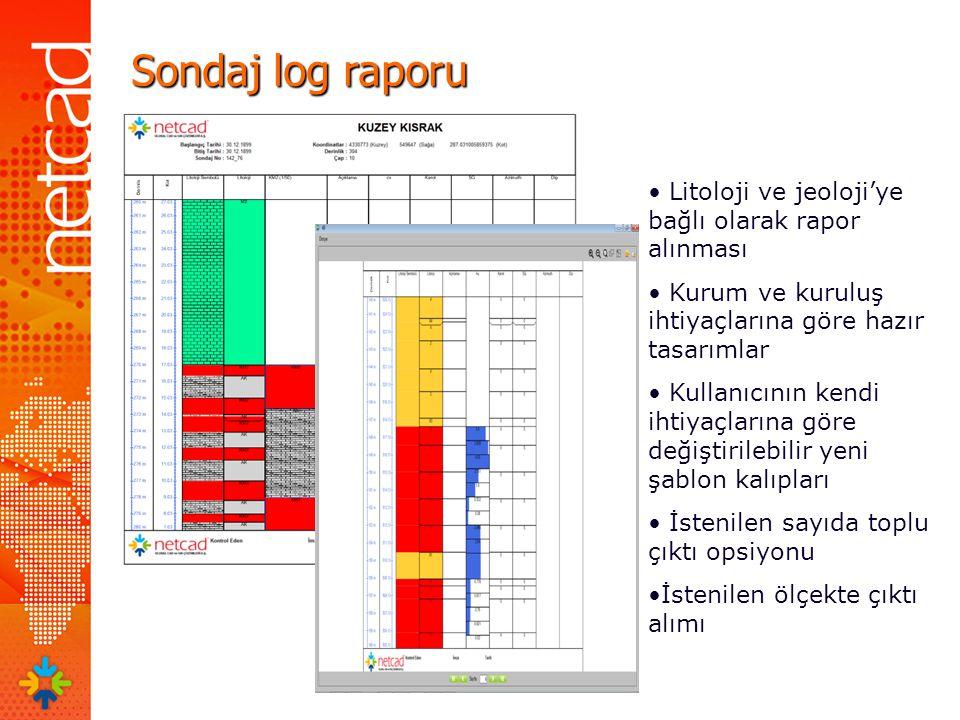 Sondaj log raporu Litoloji ve jeoloji'ye bağlı olarak rapor alınması