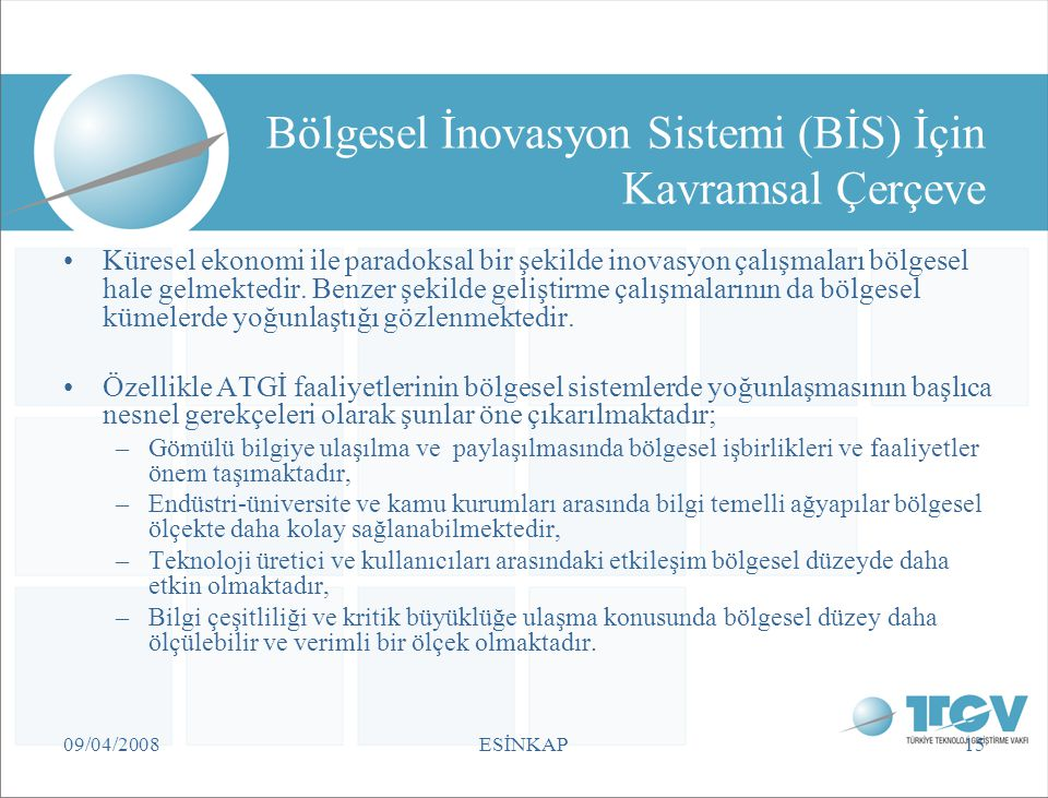 Bölgesel İnovasyon Sistemi (BİS) İçin Kavramsal Çerçeve