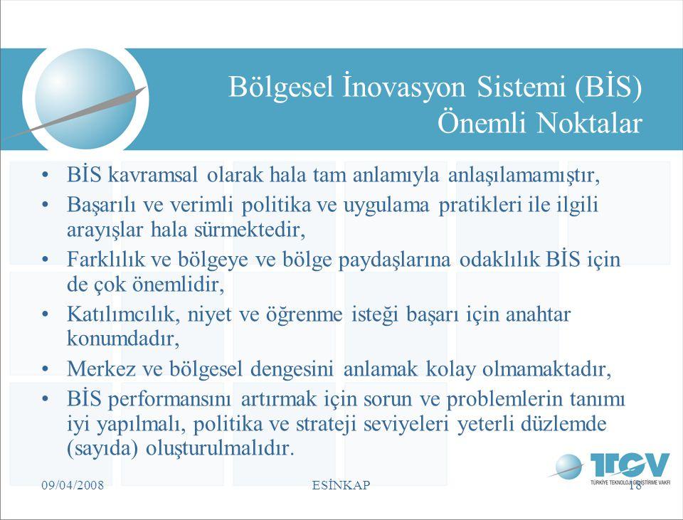 Bölgesel İnovasyon Sistemi (BİS) Önemli Noktalar