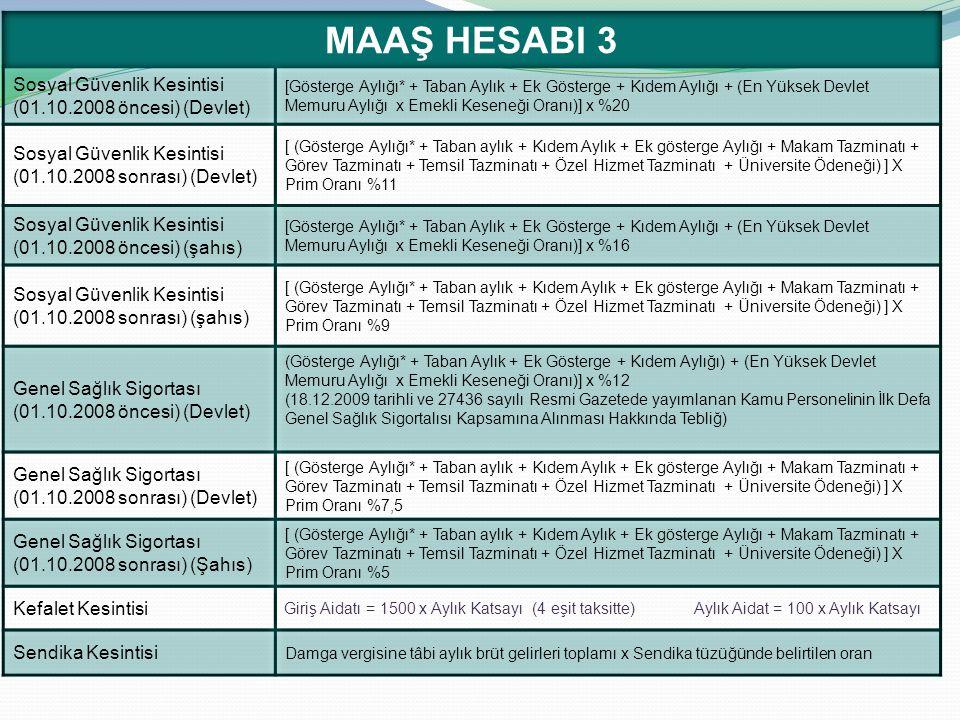 MAAŞ HESABI 3 Sosyal Güvenlik Kesintisi (01.10.2008 öncesi) (Devlet)