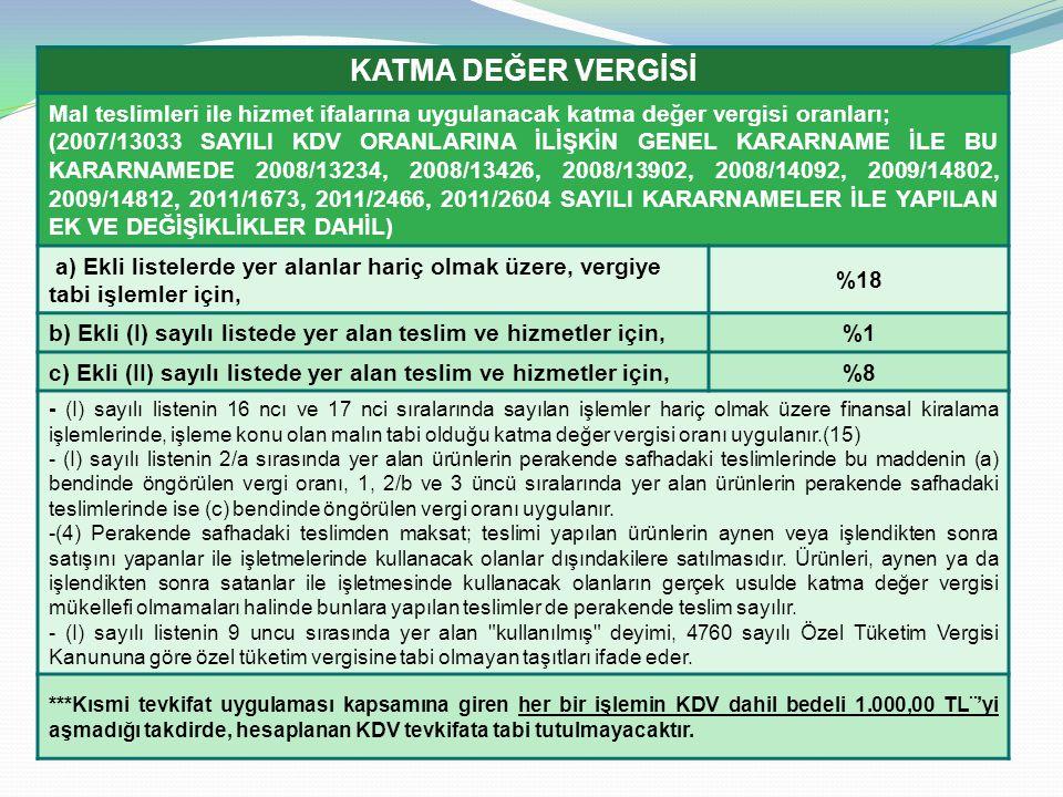 KATMA DEĞER VERGİSİ Mal teslimleri ile hizmet ifalarına uygulanacak katma değer vergisi oranları;