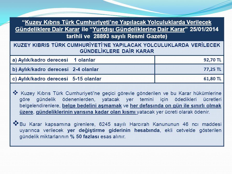 Kuzey Kıbrıs Türk Cumhuriyeti'ne Yapılacak Yolculuklarda Verilecek Gündeliklere Dair Karar ile Yurtdışı Gündeliklerine Dair Karar 25/01/2014 tarihli ve 28893 sayılı Resmi Gazete)