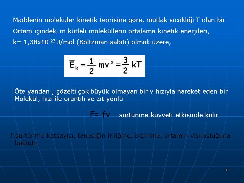 Maddenin moleküler kinetik teorisine göre, mutlak sıcaklığı T olan bir