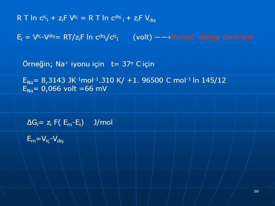 R T ln ciçi + ziF Viç = R T ln cdış i + ziF Vdış