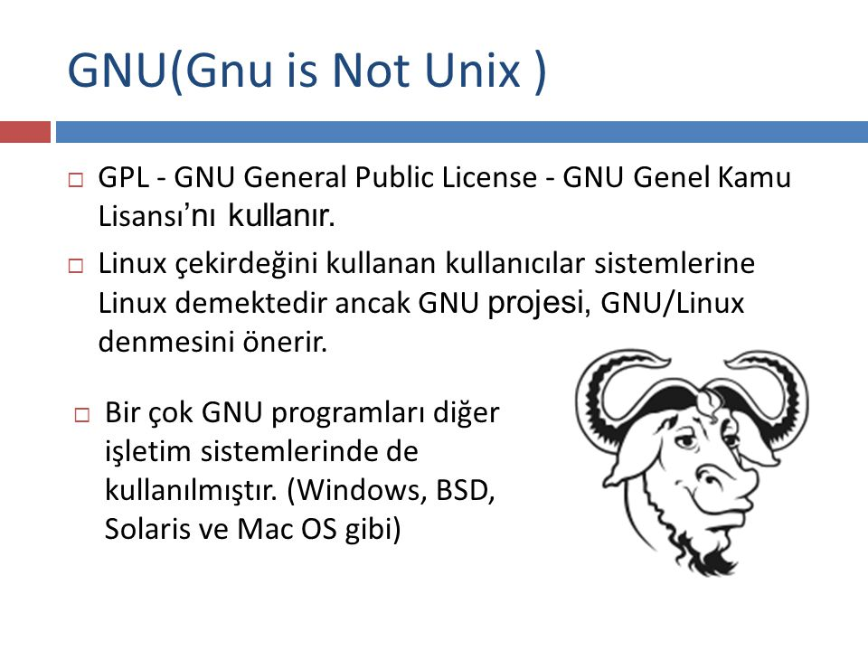 GNU(Gnu is Not Unix ) GPL - GNU General Public License - GNU Genel Kamu Lisansı'nı kullanır.