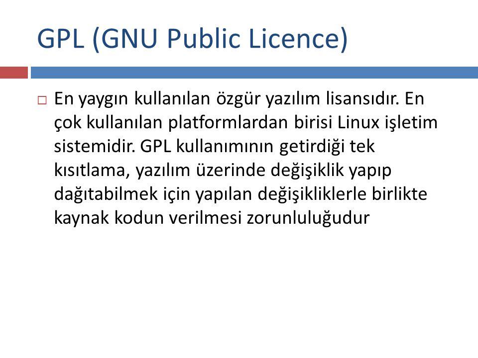 GPL (GNU Public Licence)