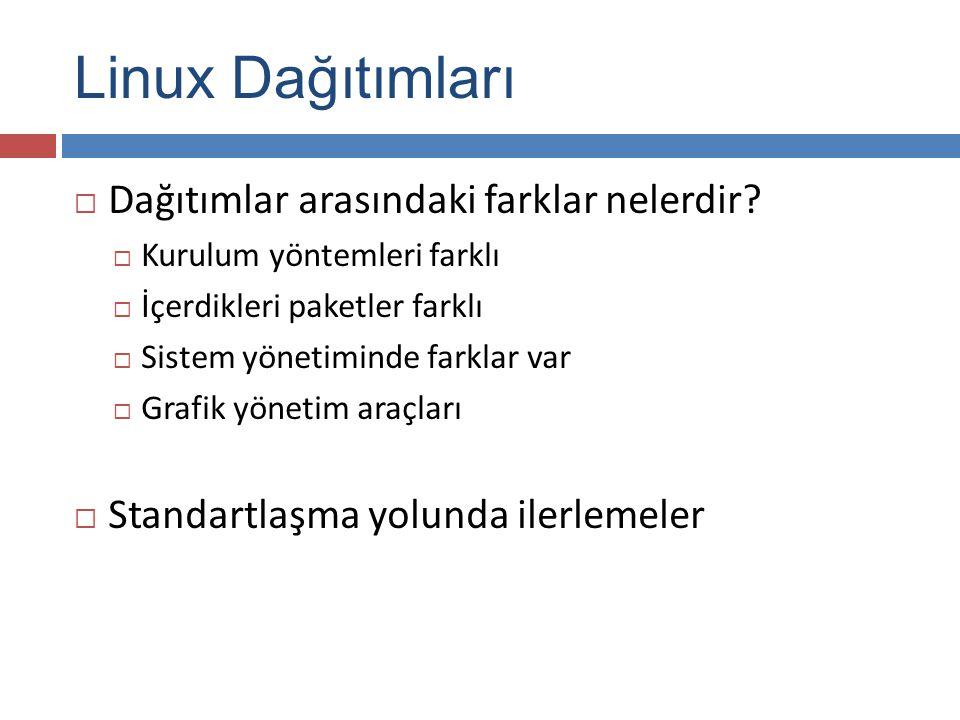 Linux Dağıtımları Dağıtımlar arasındaki farklar nelerdir
