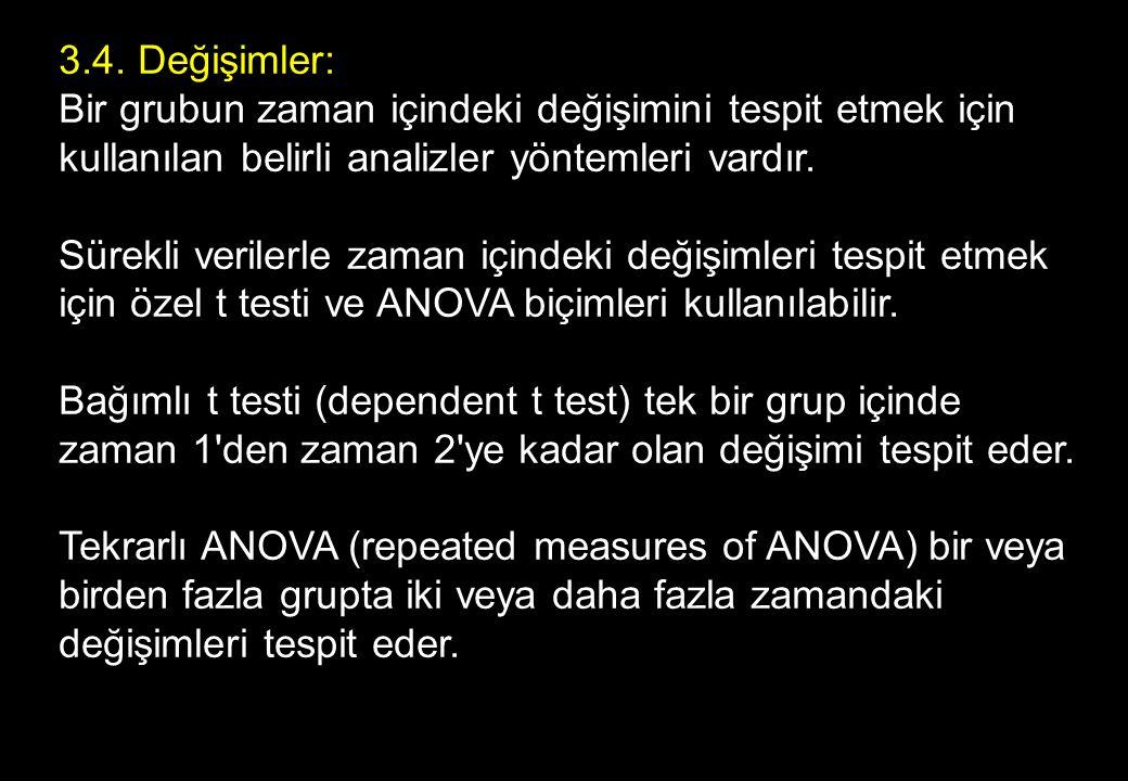3.4. Değişimler: Bir grubun zaman içindeki değişimini tespit etmek için kullanılan belirli analizler yöntemleri vardır. Sürekli verilerle zaman içindeki değişimleri tespit etmek için özel t testi ve ANOVA biçimleri kullanılabilir.