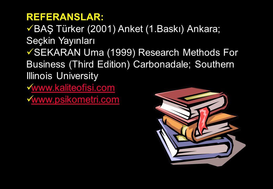 REFERANSLAR: BAŞ Türker (2001) Anket (1.Baskı) Ankara; Seçkin Yayınları.