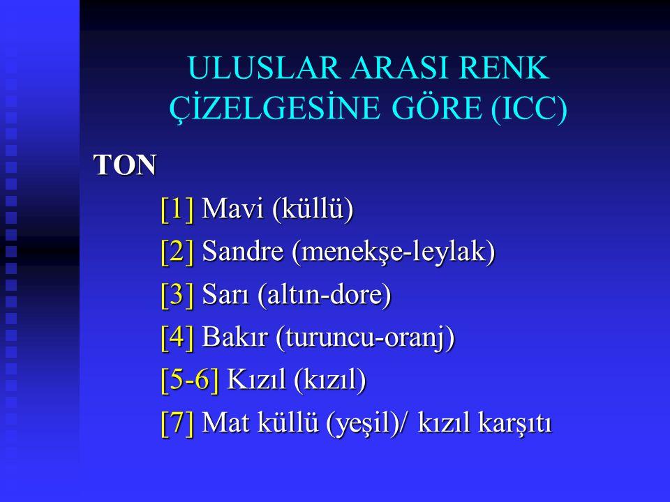 ULUSLAR ARASI RENK ÇİZELGESİNE GÖRE (ICC)