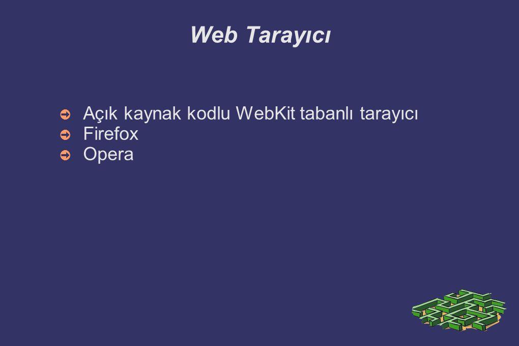 Web Tarayıcı Açık kaynak kodlu WebKit tabanlı tarayıcı Firefox Opera