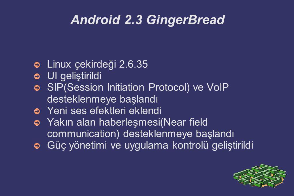 Android 2.3 GingerBread Linux çekirdeği 2.6.35 UI geliştirildi