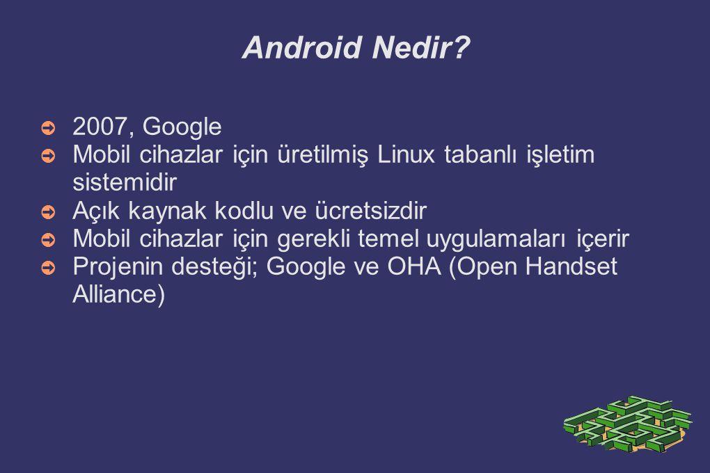 Android Nedir 2007, Google. Mobil cihazlar için üretilmiş Linux tabanlı işletim sistemidir. Açık kaynak kodlu ve ücretsizdir.