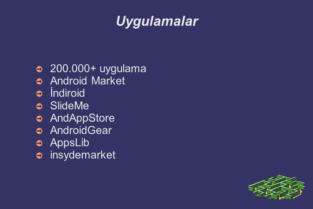 Uygulamalar 200.000+ uygulama Android Market İndiroid SlideMe