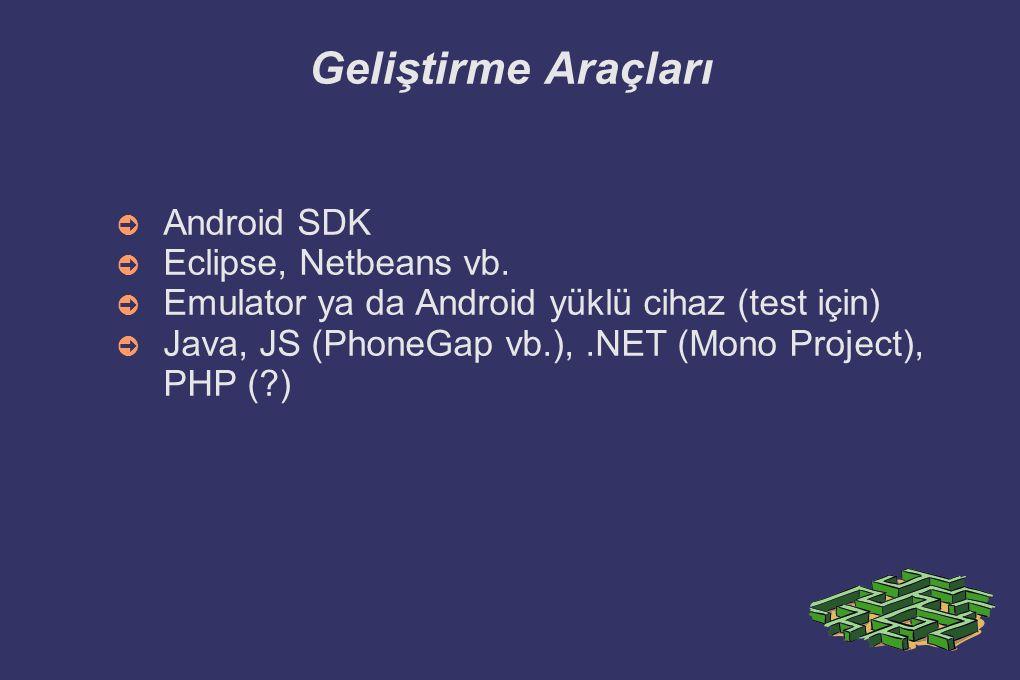 Geliştirme Araçları Android SDK Eclipse, Netbeans vb.