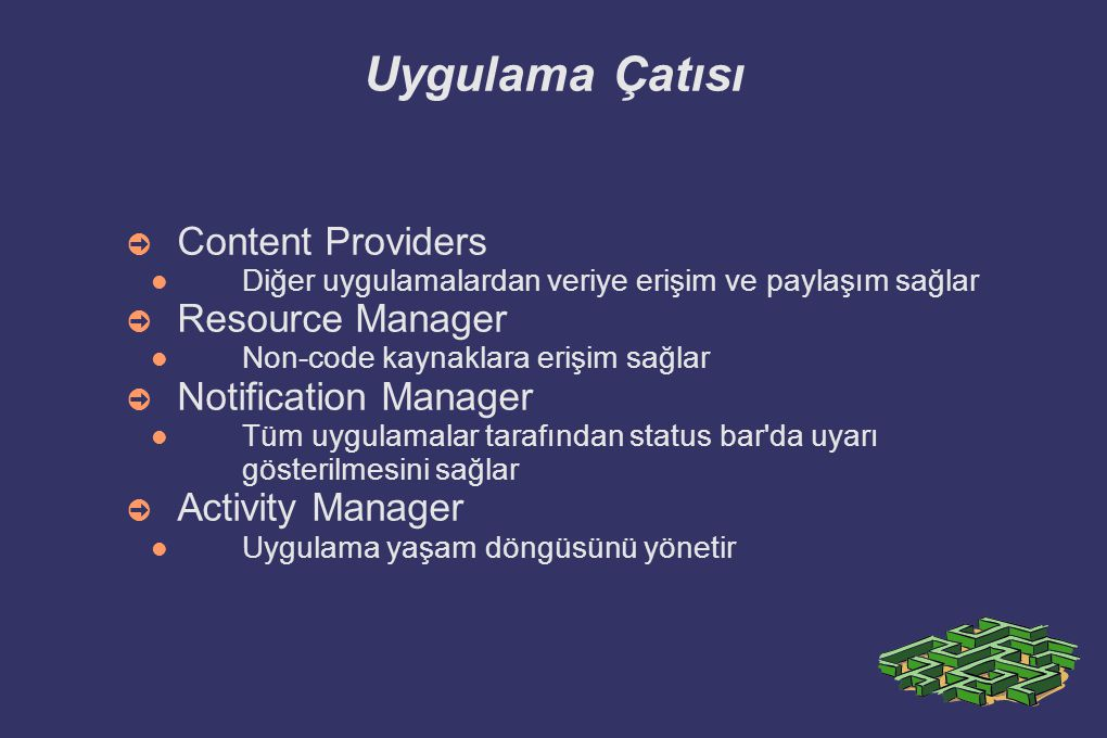 Uygulama Çatısı Content Providers Resource Manager