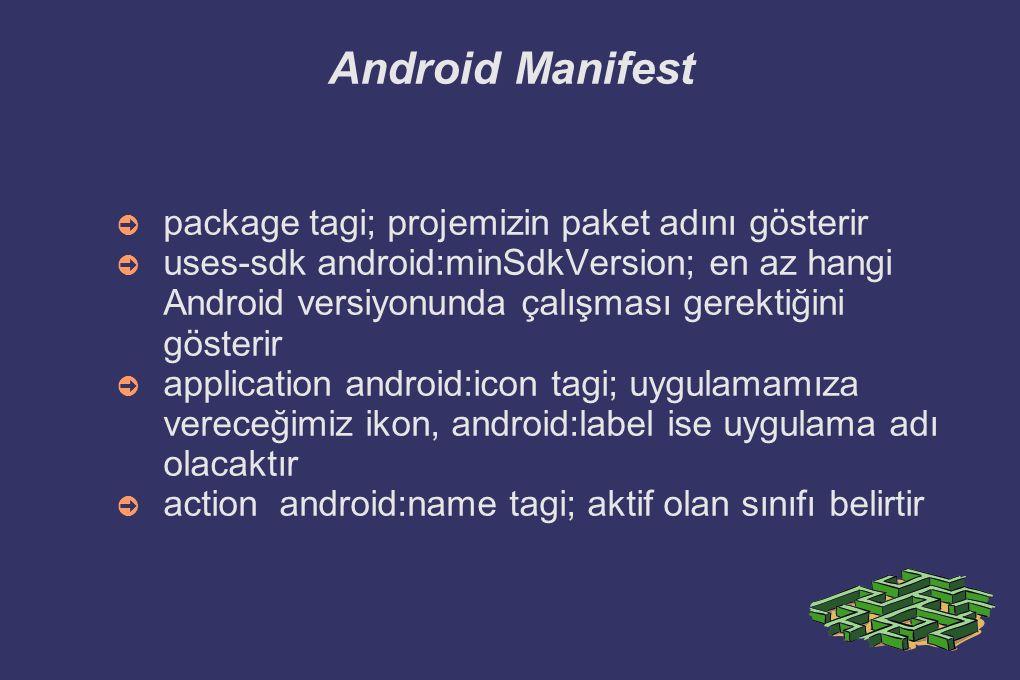 Android Manifest package tagi; projemizin paket adını gösterir