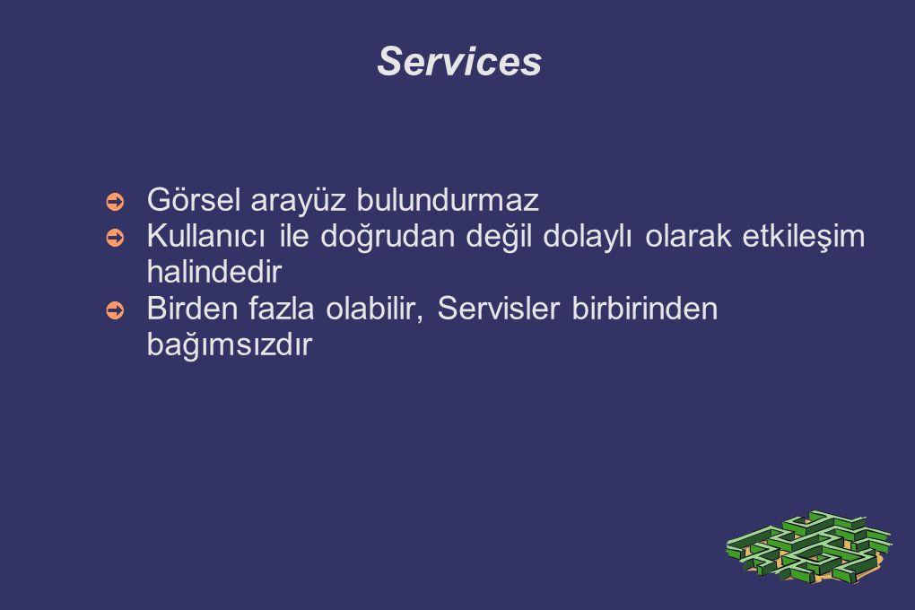 Services Görsel arayüz bulundurmaz