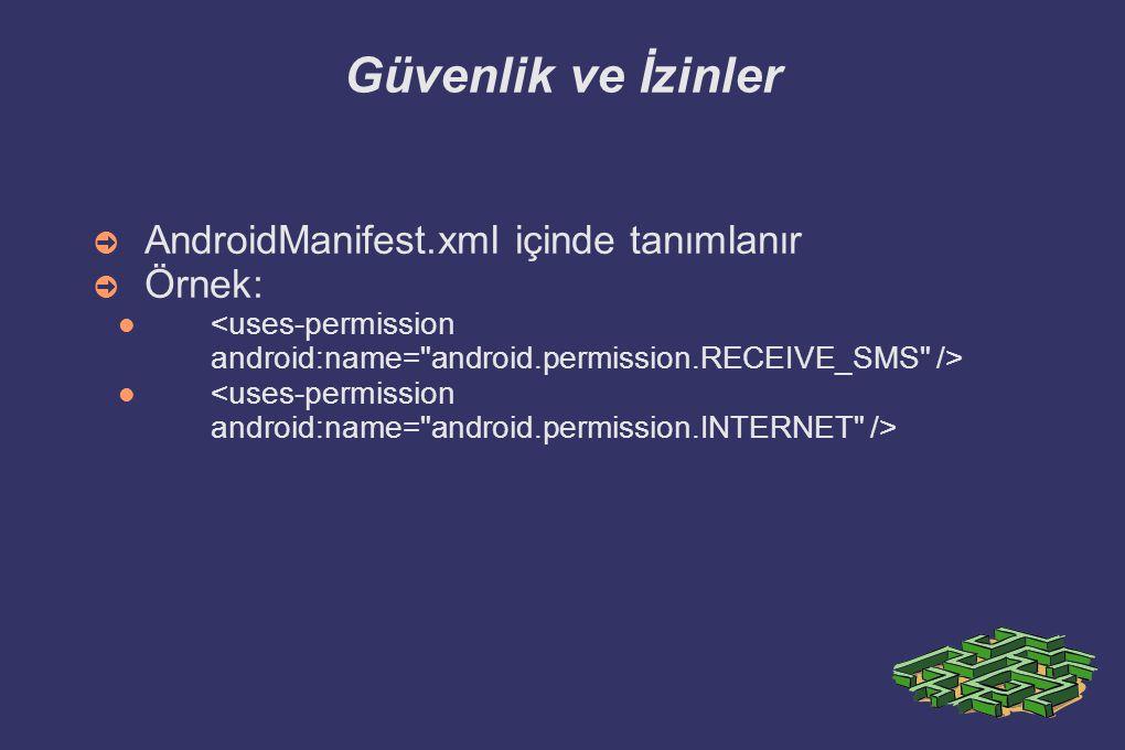 Güvenlik ve İzinler AndroidManifest.xml içinde tanımlanır Örnek: