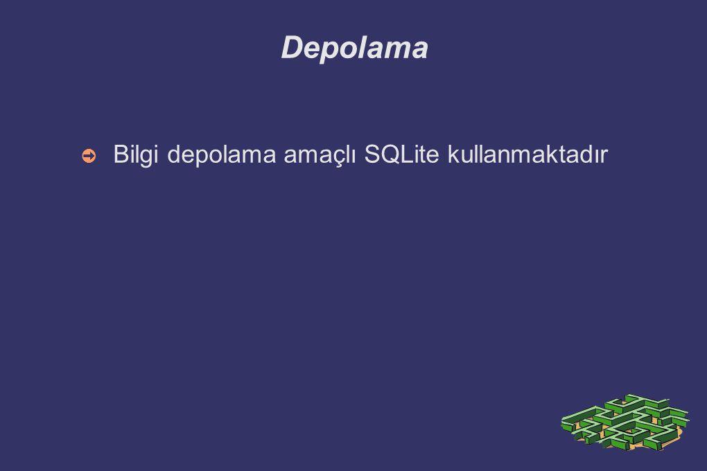 Depolama Bilgi depolama amaçlı SQLite kullanmaktadır