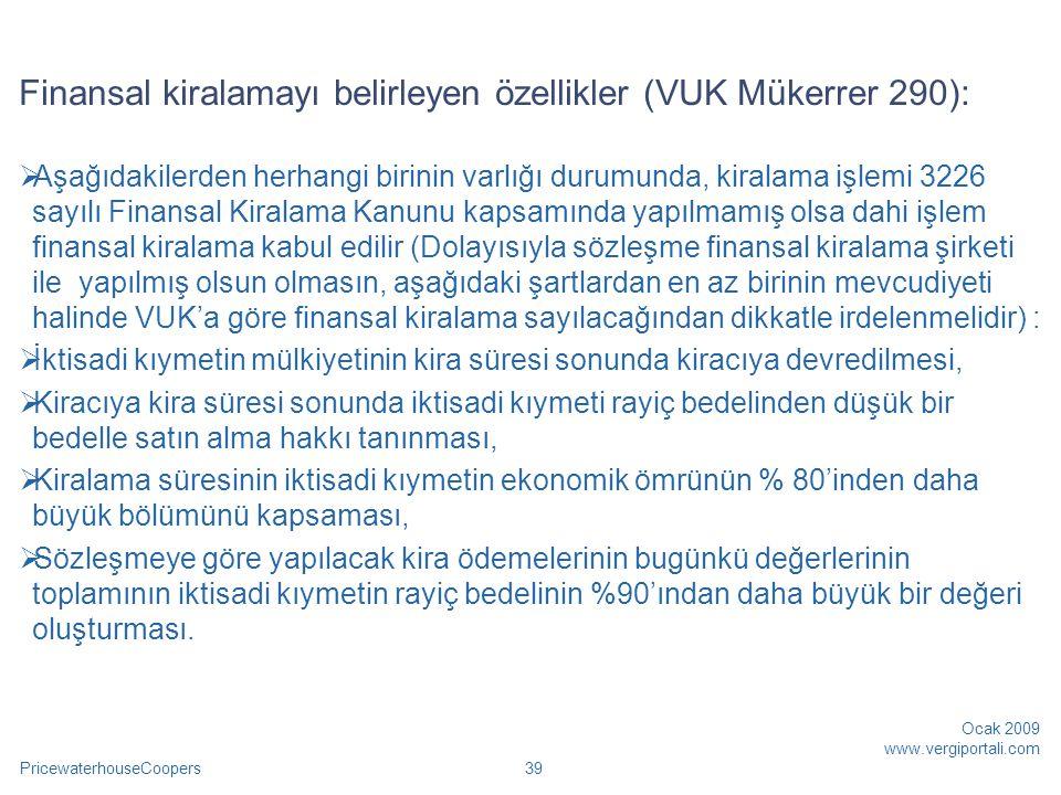 Finansal kiralamayı belirleyen özellikler (VUK Mükerrer 290):
