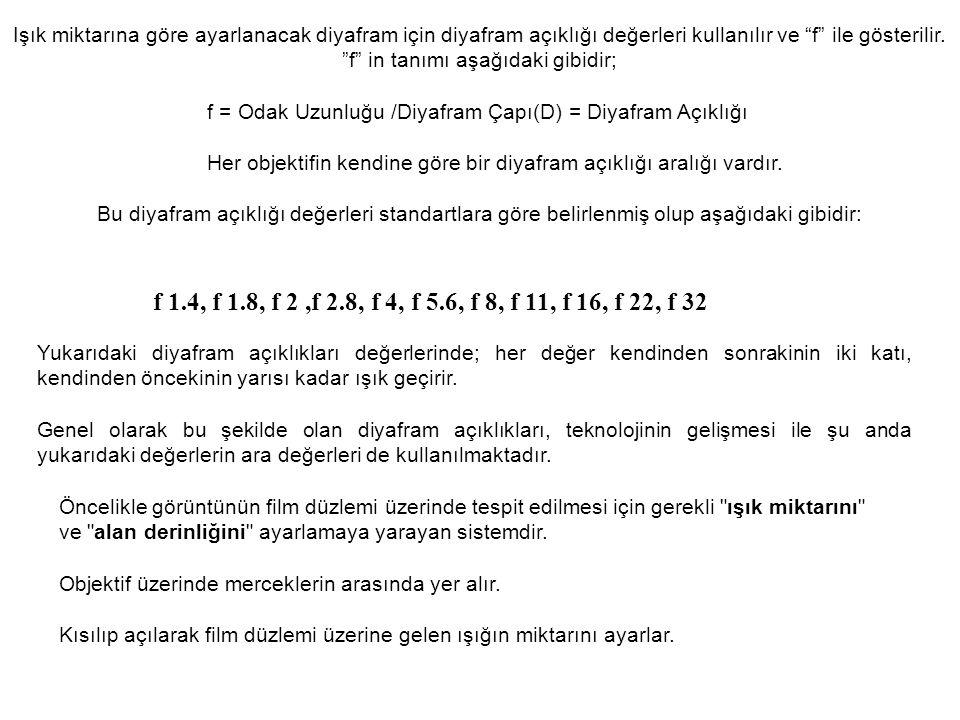 Işık miktarına göre ayarlanacak diyafram için diyafram açıklığı değerleri kullanılır ve f ile gösterilir. f in tanımı aşağıdaki gibidir;