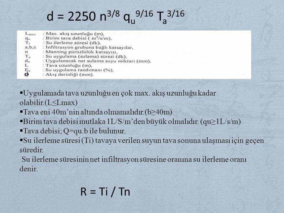 d = 2250 n3/8 qu9/16 Ta3/16 Uygulamada tava uzunluğu en çok max. akış uzunluğu kadar olabilir.(L≤Lmax)